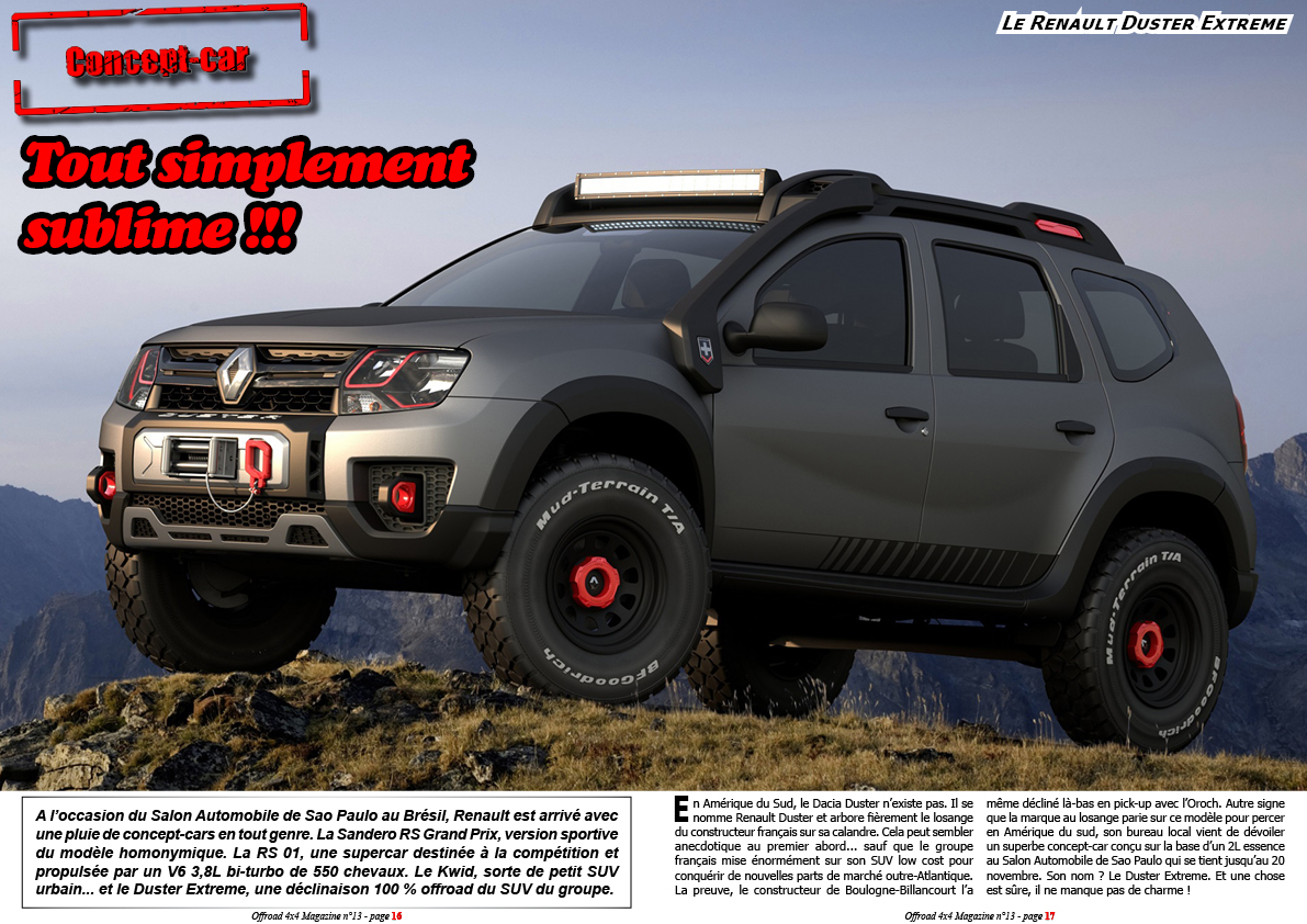 offroad 4x4 magazine le renault duster extreme concept. Black Bedroom Furniture Sets. Home Design Ideas