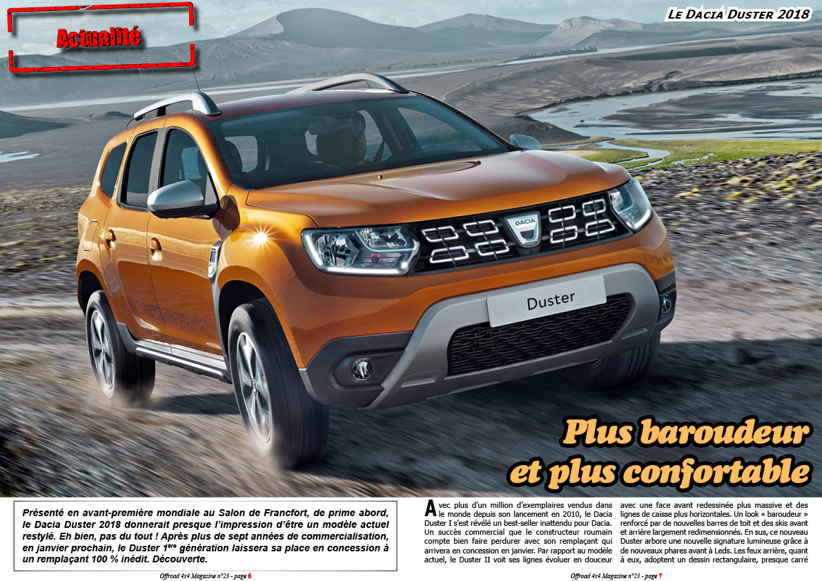 offroad 4x4 magazine le dacia duster 2018. Black Bedroom Furniture Sets. Home Design Ideas